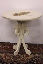 Tavolo tondo in legno avorio con decori dipinti a mano floreali table handmade