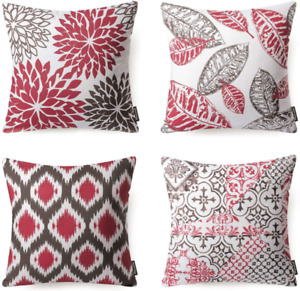 """Set Of 4 Pillow Cases Red Soft Decorative Waist Throw Pillow Covers 18x18"""" Sofa"""