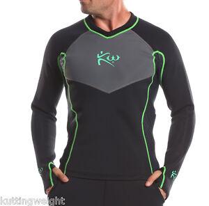 Kutting Weight Sauna Suit Weight Loss Neoprene Long-Sleeve Black & Green Shirt