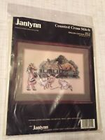 Vintage Janlynn English Cottage Scene Counted Cross Stitch Kit New Unopened