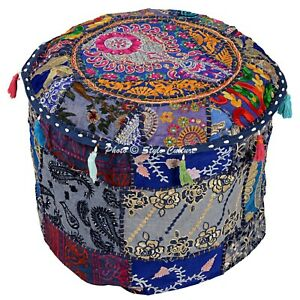 Bohemian Round Ottoman Pouf Cover 16 Inch Cotton Patchwork Embroidered Blue
