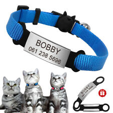 Personalised Pet Nylon Collar Breakaway Buckle Slide On Dog ID Name Tag Engraved