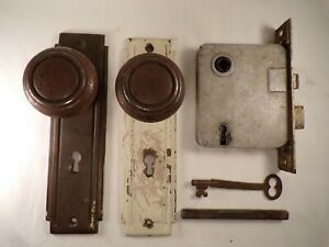 Antique Replacement Mortise Lock w/ Escutcheon Knobs Spindle Working Key Hardwar