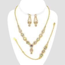 AB golden diamante necklace bracelet earring set sparkly prom party bridal 556