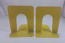 PAIR MID CENTURY INDUSTRIAL OFFICE MARCH PRODUCTS BRIGHT YELLOW METAL BOOKENDS