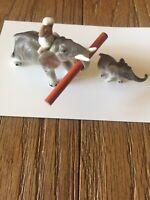 Vintage Miniature Genuine Bone China Hi Style Bridge 2 Elephants Figurines NICE