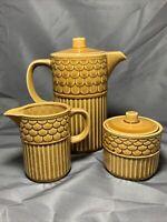 Vintage MCM Coffee Pot Sugar Creamer Cup Set Brown Gold Japan