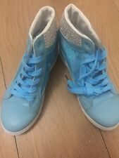 Mesh Sides Blue Hidden Wedge Trainers