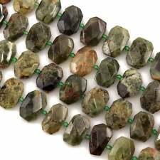 """Large Faceted Natural Green Garnet Octagon Slab Slice Pendant Beads 16"""" Strand"""