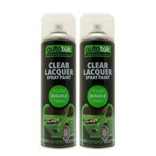 2x Autotek Clear Laquer Spray Acrylic Top Coat 500Ml