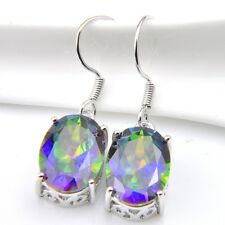 Wedding  Jewelry Natural Rainbow Mystic Fire Topaz Silver Dangle Hook Earrings
