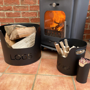 Valiant 3-Piece Fireside Metal Storage Set for Logs, Kindling and Matches FIR230