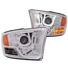 Anzo Projector Headlights U-Bar Chrome Clear For 09-17 Dodge Ram 1500 #111269