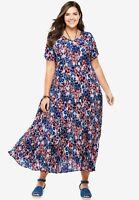 NAVY Floral Bloom Short Sleeve Maxi Dress. Plus size