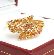 14k Solid Yellow Gold Cute Cluster Ring Natural Orange Sapphire, Sz 7. 2.20 GM