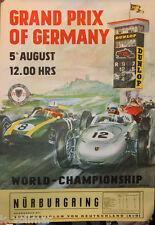 ORIG. rennplakat Grand-Prix of Germany M. Engl. text/NURBURGRING PORSCHE RACING