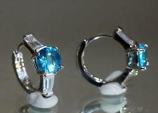 Elegant 2 x 1ct Created Brilliant Blue Topaz & Diamond 1.3cm Hoops