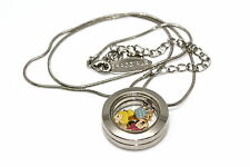 DISNEY ROUND LOCKET SILVER NECKLACE FLOATING MINNIE MOUSE TINKERBELL CROWN CHARM