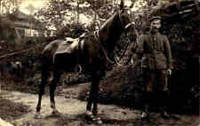 Feldpostkarte 1916 Feldpost 1. Weltkrieg Echtfoto Soldat m. Pferd Soldier Horse