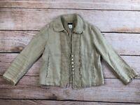 Womens J. Crew 0 linen blazer military cropped jacket long sleeve tan boho