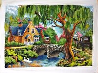 """NEW finished completed Cross stitch""""Going Home Beauty House""""home decor gift"""