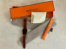 Men's Hermès Series 4 Apple Watch - 44mm w/ sport orange & fauve barenia band+