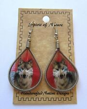 Earrings  Spirit of Nature thread - WOLF-- red background french wire