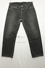 Levi's 501 nero accorciato jeans usato (Cod.M749) Tg.50 W36 L36 boyfriend