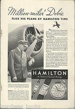 1935 HAMILTON WATCH advertisement, United Air Lines pilot Dick Dobie