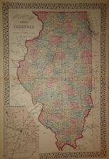 Vintage 1880 ILLINOIS MAP Old Antique Original Atlas Map 18