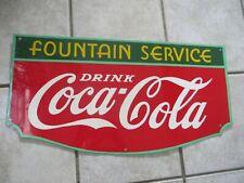 ORIGINAL FOUNTAIN SODA COCA COLA REPAINTED 1940'S SIGN