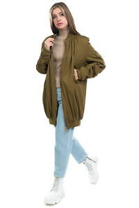 RRP €695 L'AUTRE CHOSE Longline Bomber Jacket Size 40 / S Ruched Made in Italy