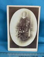1880s Cabinet Card Photo Front Steering Tricycle Velocipede Plectocycle Newark