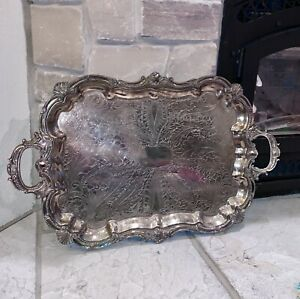"Birmingham Silver Co. 29""x18"" Engraved Silverplate Copper Footed Tray Platter"