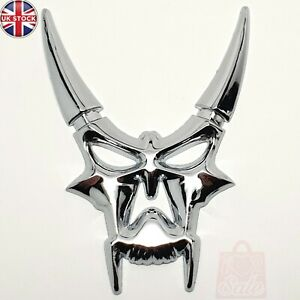 1x Devil Demon Horn Skull Metal Badge Emblem Car Window Bumper Sticker Bonnet