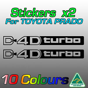 D4D turbo stickers decals x2 for Toyota Prado turbo diesel ***premium quality***