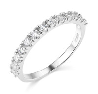 1.50 Ct Round Cut Real 14k White Gold Engagement Wedding Anniversary Band Ring