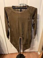 Women's Clothing Amelia James NWT Plush Velvet Brown Blouse Shirt Top Size XS
