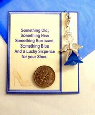 Something Blue Guardian Angel & Sixpence Lucky Bridal Charm for Garter/Bouquet