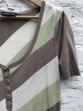 Warehouse Women's Striped Short Sleeve Green Beige Cream Knitted Jersey Top 12