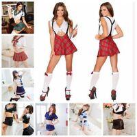 Sexy Lingerie Adult Fancy Uniform School Girl Cosplay Costume Tops + Mini Dress