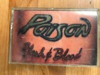 "POISON Flesh & Blood Cassette 1990 ULTRA RARE 1st pressing ""BLOOD"" Tattoo cover"