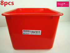 8pcs Multipurpose Plastic Storage Crate 15L Holder Organizer Box Bin Tub Q114262