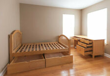 Set of a solid wood twin storage bed and desk