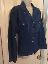 Sag Harbor Women button front fitted stretch denim jean jacket blazer L Large