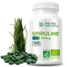 Detox Organica Spiruline Bio-500 Comprimés de spiruline Pure-500mg  Forte Con...