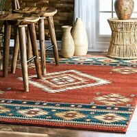 nuLOOM Transitional Tribal Diamond Margene Area Rug in Red