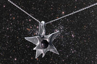 STUNNING SOLID SILVER STAR NECKLACE WITH REAL METEORITE