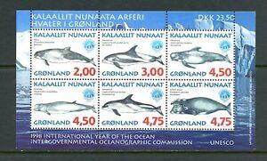 E143 Greenland 1998 Baleines Unesco Feuille MNH