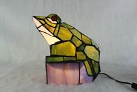 Large  Glass Frog Lamp Green & Blue-Works Great ! Tiffany Style Stained MINT